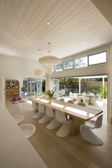 White Weatherboard Open Plan Interior