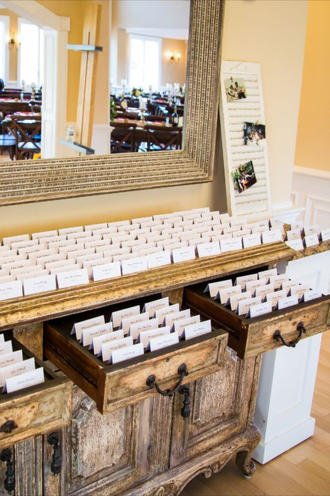 Simple white escort cards for a rustic wedding in NJ | Photo: Anthony Ziccardi Studios