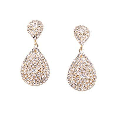 Wedding Earrings Gold Plating Teardrop Dangle Earrings