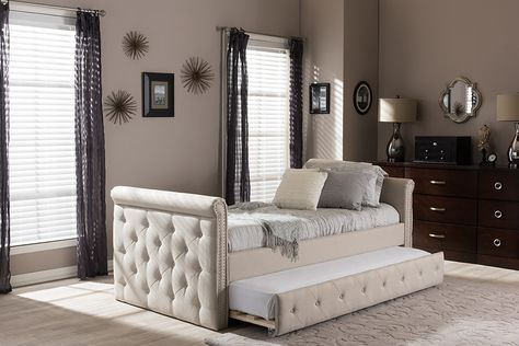 48b23ef616a Baxton Studio Swamson Modern and Contemporary Beige Fabric Tufted Twin Size  Daybed with Roll-out Trundle Guest Bed - Light Beige
