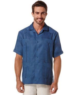 Cubavera Short Sleeve 4 Pocket 100 Linen Guayabera Shirt Reviews Casual Button Down Shirts Men Macy S Guayabera Shirt Summer Shirts