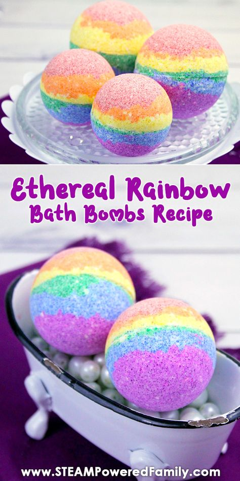Ethereal Rainbow Bath Bomb Recipe that will have you feeling heavenly! Ethereal Rainbow Bath Bomb Recipe that will have you feeling heavenly! Create gorgeous, magical coloured bath bombs with this easy recipe and science lesson for kids. Bath Fizzies, Bath Salts, The Body Shop, Rainbow Bath Bomb, Savon Soap, Bombe Recipe, Homemade Bath Bombs, Bomb Making, Lush Bath Bombs