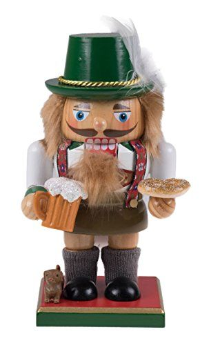 Wooden Chubby German Nutcracker Decoration Figure Wearing Lederhosen with Mug  725 Tall *** You can find out more details at the link of the image.