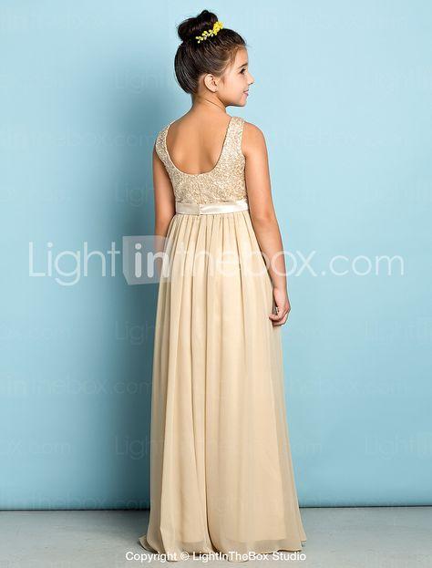 Floor-length Chiffon / Lace Junior Bridesmaid Dress - Champagne A-line Scoop 2015 – $79.99
