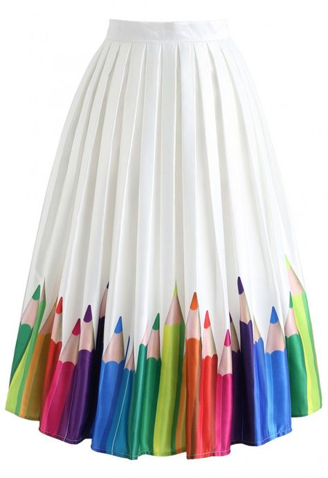 Colorful Pencil Illustration Printed Midi Skirt - NEW ARRIVALS - Retro, Indie and Unique Fashion