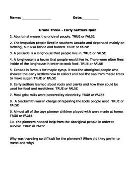 Early Settlers Quiz Quiz Short Answers Early Settler