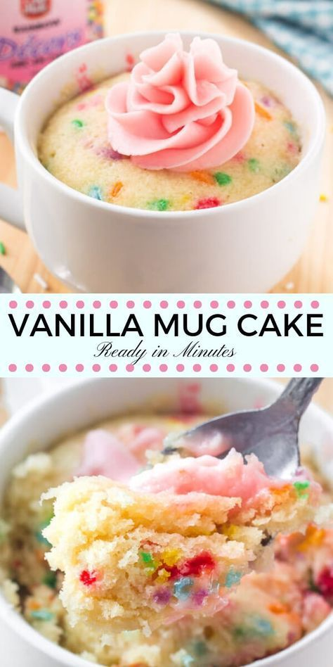 This easy vanilla mug cake is made in the microwave and ready in minutes! It's moist, with a delicious vanilla flavor and tons of sprinkles. #mugcake #vanillacake #sprinkles #cake