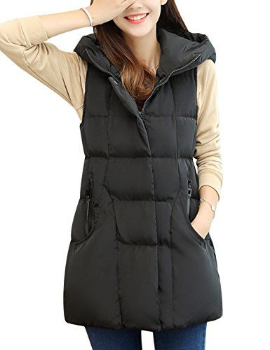 Tanming Womens Winter Cotton Padded Long Vest Coat Outerwear with Hood