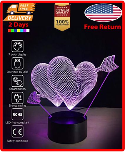 Romantic 3d Glow Led Night Light 7 Colors Optical Illusion Lamp Touch Sensor Perfect For Home Color Optical Illusions Wraparound Lights Motion Activated Light