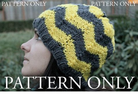 Knit Pattern for Chevron Striped Slouchy Beanie by OakStreetKnits, $3.00