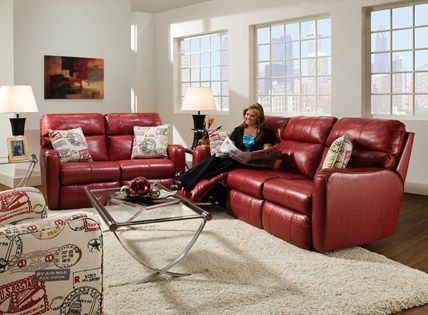 Reclining Sofa Southern Motion red leather reclining sofa at Hendricks Living Room Sofas Pinterest Leather reclining sofa Reclining sofa and Living room sofa