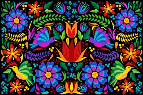 Online embroidery digitizing is the leader in the world of digitization. They have professionals who are fully aware of the essentials of the embroidery scanning process. Indian Folk Art, Mexican Folk Art, Folk Art Flowers, Flower Art, Design Plat, Flat Design, Art Floral, Floral Flowers, Mexican Pattern