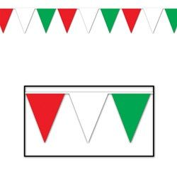 White and Blue Outdoor Pennant Banner Red