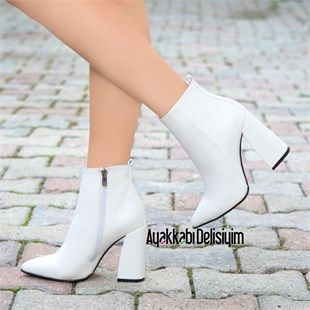 Mesrik White Thick Heeled Women Boots Boots White Leather Boots Heels