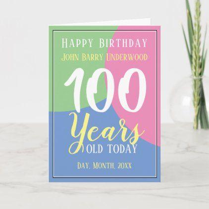 Happy 100th Birthday Card Zazzle Com 100th Birthday Card Happy 100th Birthday 70th Birthday Card