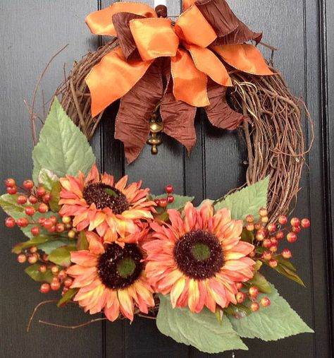 Bronzed Sunflower Wreath  Grapevine Door by SeasonsAtRosehill, $57.99