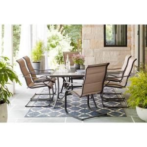 Fabulous Hampton Bay Laurel Oaks 7 Piece Brown Steel Outdoor Patio Gmtry Best Dining Table And Chair Ideas Images Gmtryco