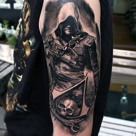 60 assassins creed tattoo designs for men - video game ink ideas