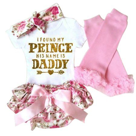 Pants Shorts+Headband Outfit Set Newborn Baby Girls I Am My Daddys Girl and My Mommys World Romper Jumpsuit Bodysuit