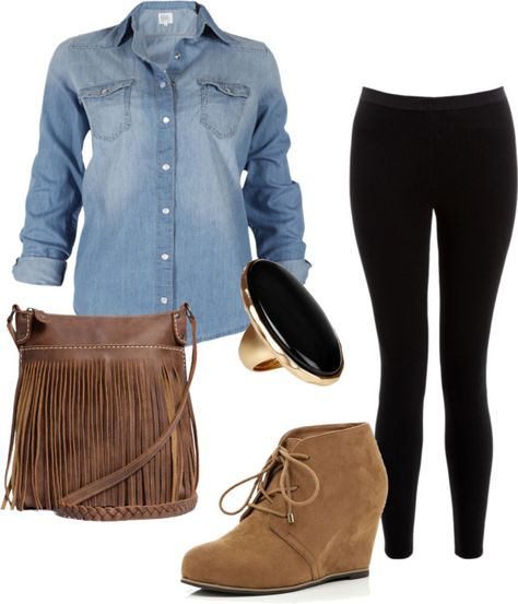 """Denim Shirt"" by alyssakrause on Polyvore"