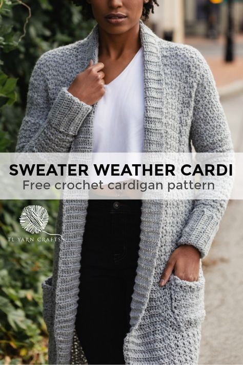 The Sweater Weather Cardi, a Long Modern Cozy Crochet Cardigan Pattern with Pockets