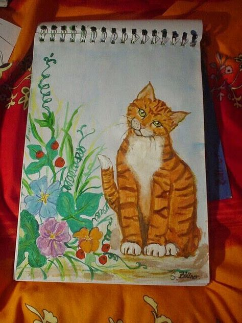 Gemalt Katze Was Guckst Katzen Neko Malen