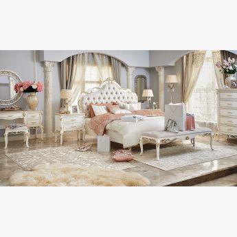 طقم غرفة نوم كينج 6 قطع من فيرساي 180x210 سم أبيض ذهبي In 2020 Home Furniture Home Decor