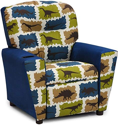 Great For Dinosaur Childs Upholstered Reclining Armchair With Cup