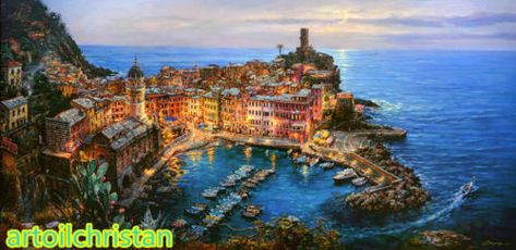 Cao Yong Mediterranean City in the sea HD Print Oil Painting 20x40 or 50x100cm | eBay