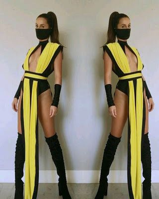 mortal combat costume email nanibikini@ to order includes one piece yellow cover belt face mask wrist covers