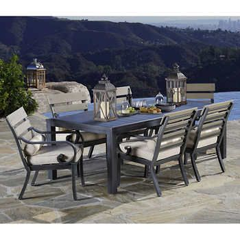Reserve 7 Piece Dining Set 6 Cushioned Dining Arm Chairs Dining Tablealuminum Frames With Sunb 7 Piece Dining Set Costco Patio Furniture Bistro Chairs Outdoor