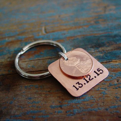 Stamped Penny Date Keychain The