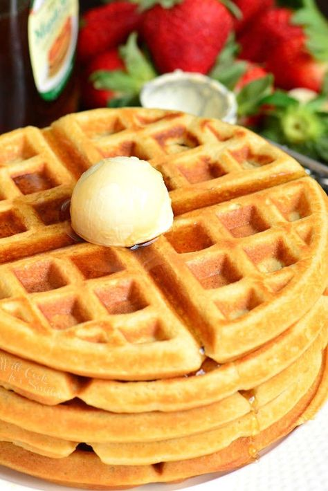 Homemade Buttermilk Waffles make every morning so much better. These waffles are soft and fluffy on the inside and crunchy on the outside. A perfect way to start the day. Try adding berries, cinnamon, or Breakfast Waffle Recipes, Tater Tot Breakfast, Breakfast Waffles, Pancakes, Breakfast Ideas, Bacon Waffles, Buttermilk Waffles, Fluffy Waffles, Frozen Waffles