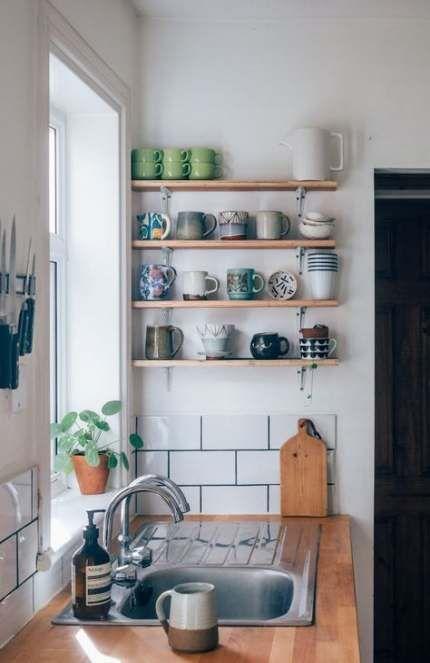 59 New Ideas Kuchenorganisation Kaffee Offene Regale Wohnung Kuche Dekoration Kleine Wohnung Kuche Mietwohnungen Dekorieren