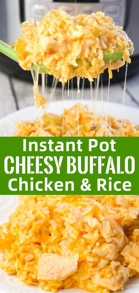 Instant Pot Recipes 163748136439839822 - Instant Pot Cheesy Buffalo Chicken and Rice is an easy pressure cooker dinner recipe loaded with chicken breast chunks, long grain white rice, diced celery, buffalo sauce and shredded cheese. Source by lauramarsh White Rice Recipes, Rice Recipes For Dinner, Instant Pot Dinner Recipes, Chicken Breast Instant Pot Recipes, Recipes With Chicken Chunks, Recipes With Chicken Breast And Rice, Recipes With Buffalo Sauce, Buffalo Recipe, Buffalo Chicken Recipes