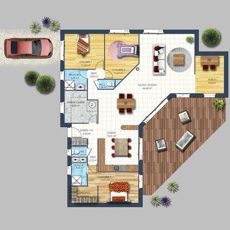Maison contemporaine Avrillé 85 maison Pinterest House, Sims - plan de maison de 100m2 plein pied
