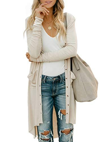 AoMoon Womens Button Down Long Sleeve Pocketed Cardigan Sweater