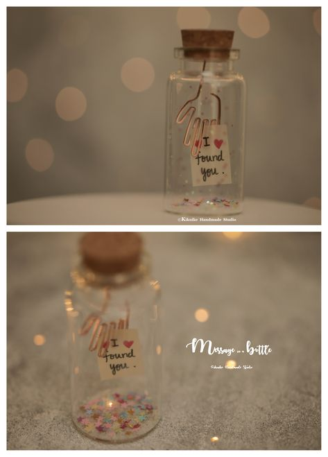 I found you, Tiny message in a bottle,Miniatures,Personalised Gift,Love Card,Valentine Card,Gift for her/him,Girlfriend gift, birthday card, holiday card and funny card ideas   #handmade #custom   #unique #cute  #art #messagecard #homedecor #deskdecor #glitter #lovecard #sweet #greetingscard #paper #seasonalcard #partygift  #personalizedgift #Longdistancegift  #kikuikestudio #X'mas #christmas #ornament #christmastreedecor #star