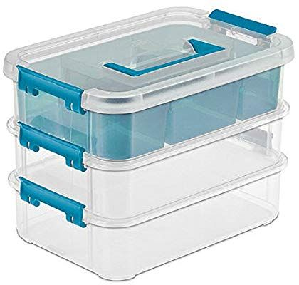 Amazon Com Sterilite 14138606 Layer Stack Carry Box 10 5 8 Inch Plastic Box Storage Sterilite Storage Boxes