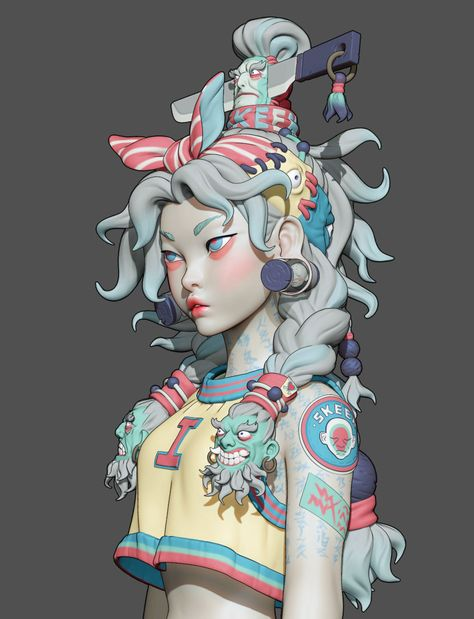 Zach Sharts did a breakdown on her concept-based stylized character, SKEEN girl, shared her workflow in ZBrush and discussed hair and clothes production. 3d Model Character, Character Drawing, Character Illustration, Zbrush Character, Character Concept Art, Pretty Art, Cute Art, 3d Modellierung, Japon Illustration