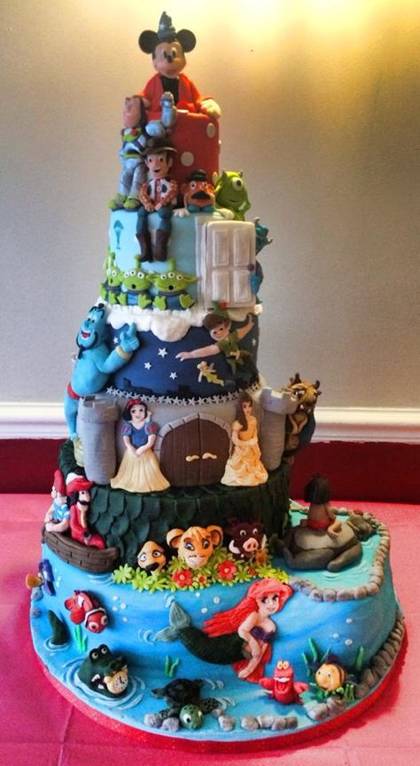 Disney cake - mickey, Toy Story, Aladdin, Beauty and the Beast, Monsters Inc, Peter Pan, Finding Nemo, Jungle Book, Little Mermaid, Lion King