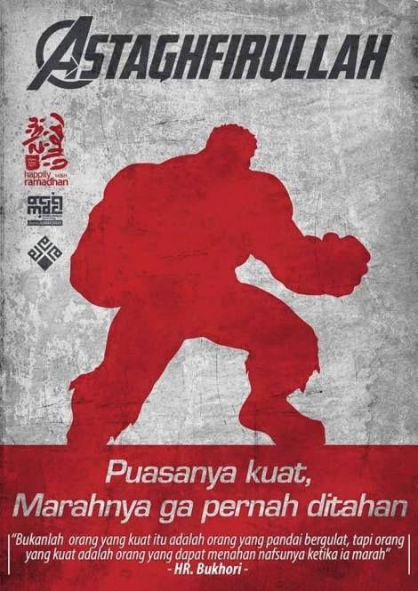 Poster Dakwah Bulan Ramadhan Dengan Konsep Pahlawan Super Dengan