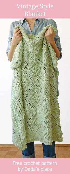 Easy Crochet Afghans How to crochet vintage style blanket - free crochet pattern designed by Dada's place popcorn stitch blanket Crochet Afghans, Motifs Afghans, Tunisian Crochet, Baby Blanket Crochet, Crochet Stitches, Crochet Baby, Chunky Crochet, Crochet Motif, Crotchet