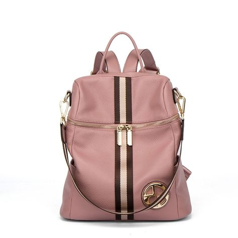 6bee85791a1f Fancy Luxury Women Genuine Leather Backpack Pink Stripe Bag Shoulder  Elegant New  FancyLuxuryChina  Backpack