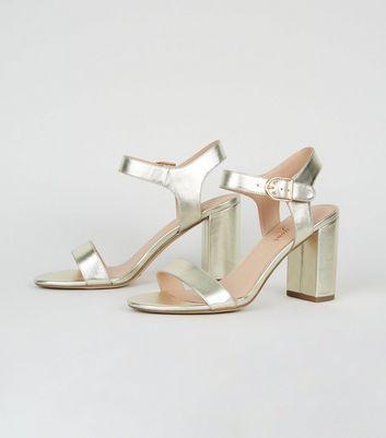 Gold Leather Look 2 Part Block Heel Sandals New Look in 2020