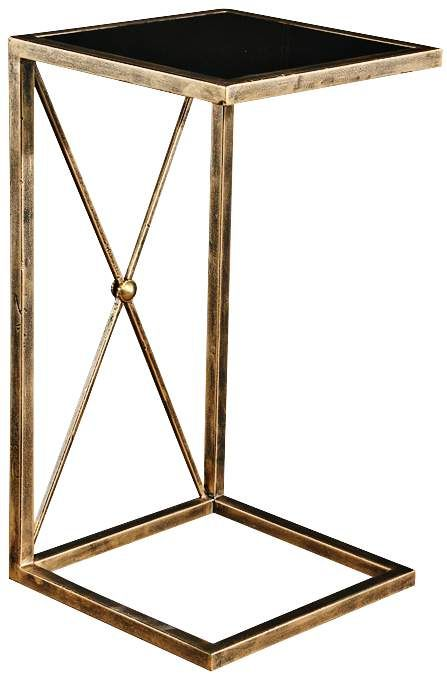 Zafina 13 Inch Wide Glass Top Antique Gold Side Table | Black