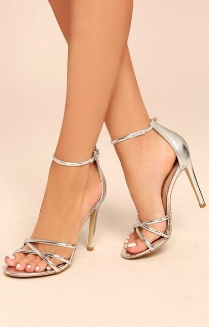 Silver ankle strap heels