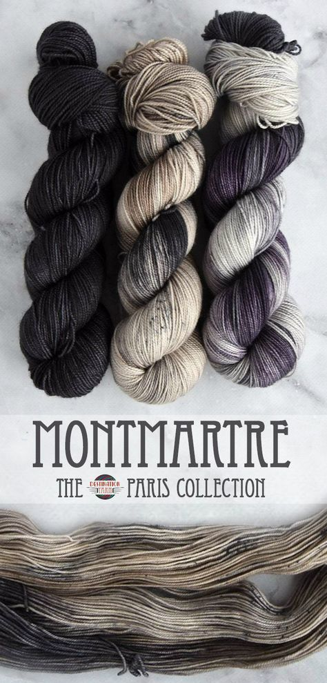 Montmartre - Passport #yarninspiration A lovely, French Gray neutral topped with a light speckle this colorway knits up beautifully and pairs with everything! Pairs With:  The entire Paris Collection!  This colorway is designed to mix and match with the 8 colorways in the Paris Collection for both fades and colorwork projects.  Pictured with Noir and Parisian Fog. See Below for Available fingering weight Yarn Options.