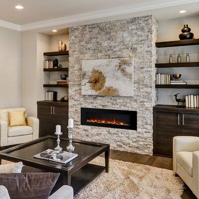 Fireplace Feature Wall, Fireplace Tv Wall, Linear Fireplace, Wall Mount Electric Fireplace, Fireplace Built Ins, Fireplace Remodel, Living Room With Fireplace, Living Room Decor, Modern Stone Fireplace