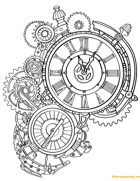 Steampunk Wall Clock Coloring Page